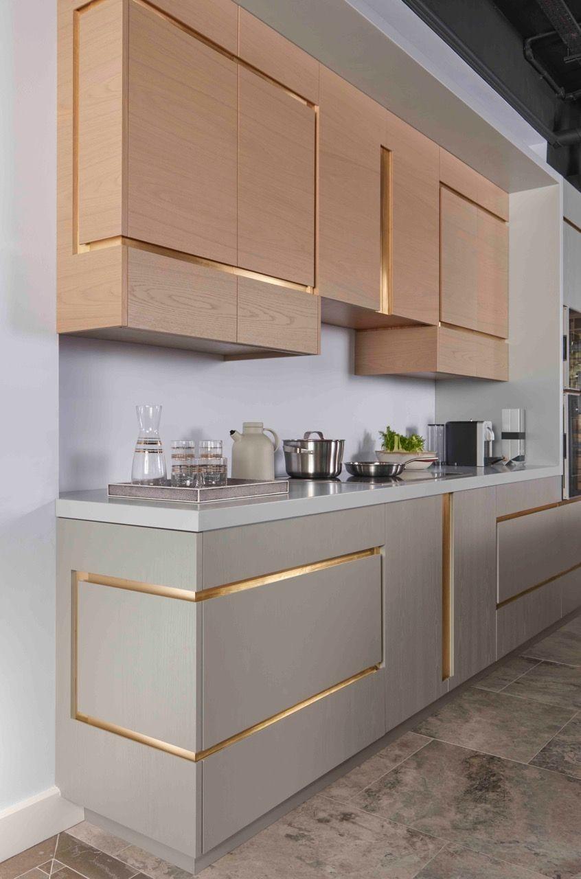 Inserts dorés sur les façades de cuisine