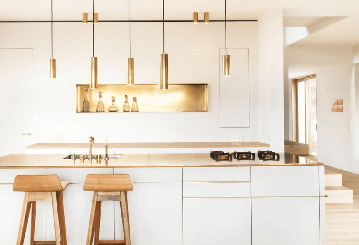 Lampes de cuisine dorées