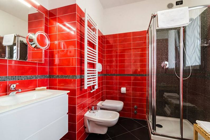Salle de bain rouge - Design d'intérieur 2021