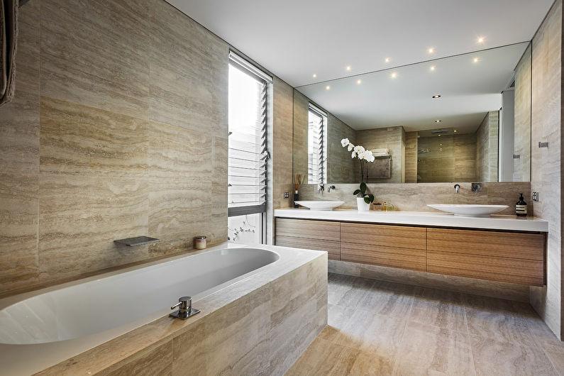 Salle de bain marron dans un style moderne - Design d'intérieur