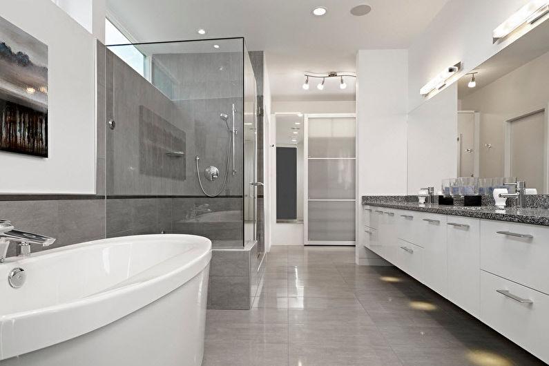 Conception de salle de bain contemporaine - Fini de plancher