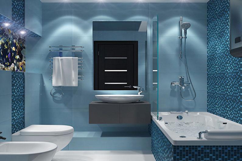 Salle de bain bleue dans un style moderne - Design d'intérieur