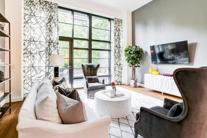 rideaux avec impression d'abstraction dans le salon