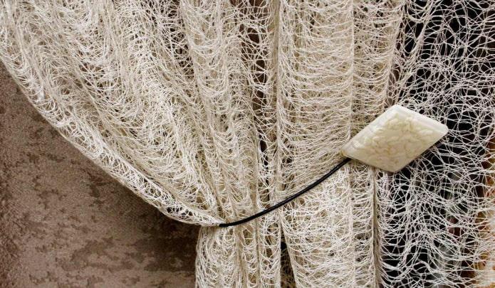 rideaux à motif de toile d'araignée
