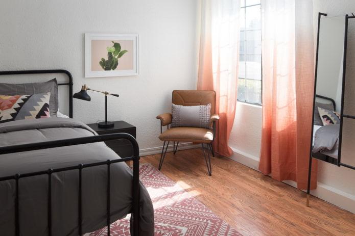 rideaux avec effet ombre dans la chambre