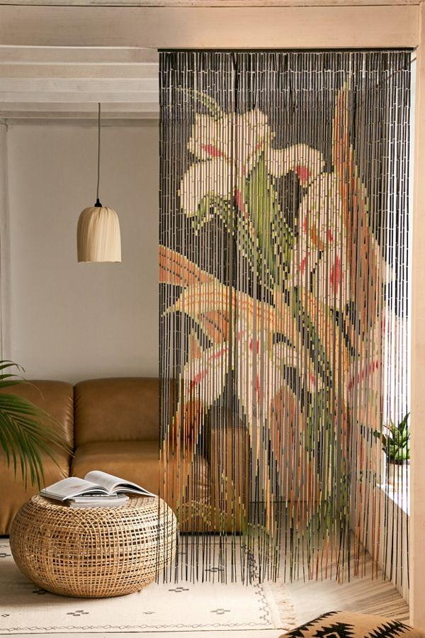 rideaux en bambou avec motif