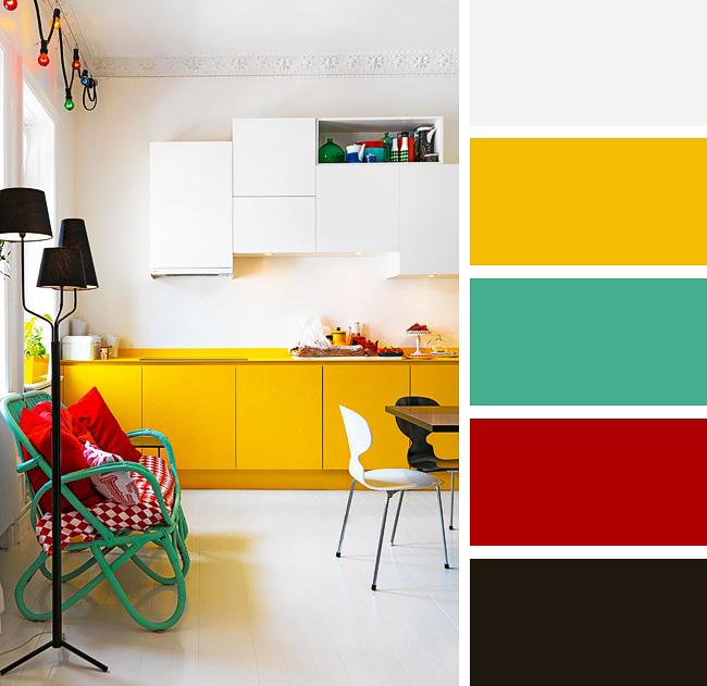 Le contraste de turquoise et de jaune chaud est un excellent tandem pour une cuisine moderne et lumineuse