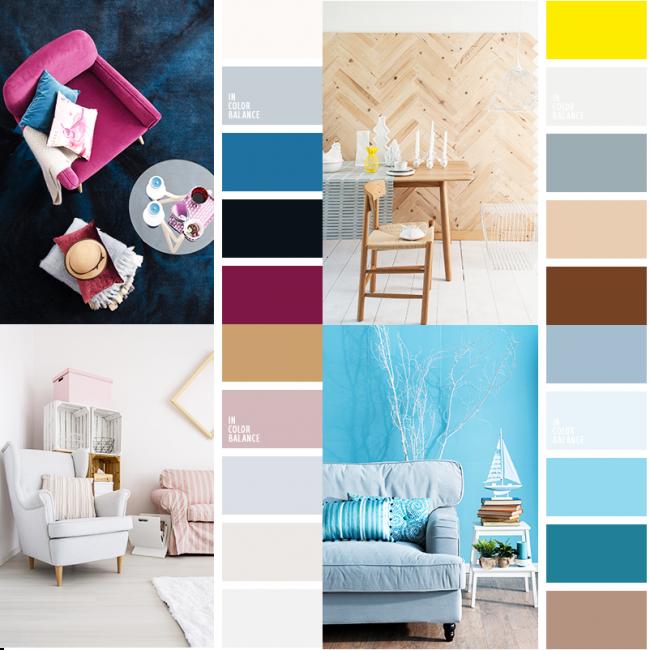Exemples réussis de combinaisons de couleurs à partir de designs d'intérieur 2018