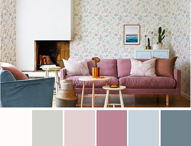 La palette de teintes pastel permet de créer un intérieur chaleureux et cosy avec des notes campagnardes et shabby chic