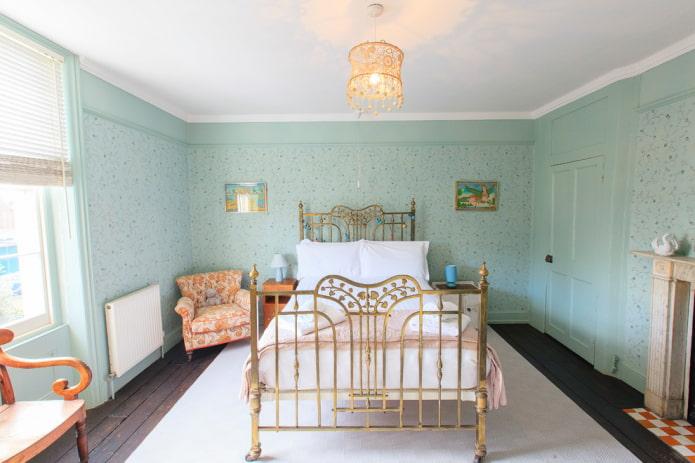 Murs de menthe dans la chambre