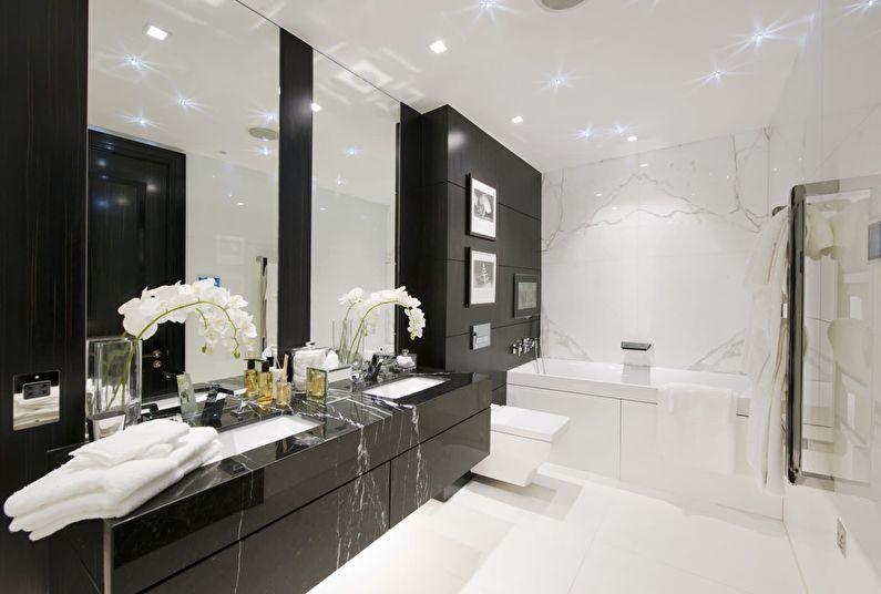 La combinaison de couleurs à l'intérieur de la salle de bain - blanc avec noir