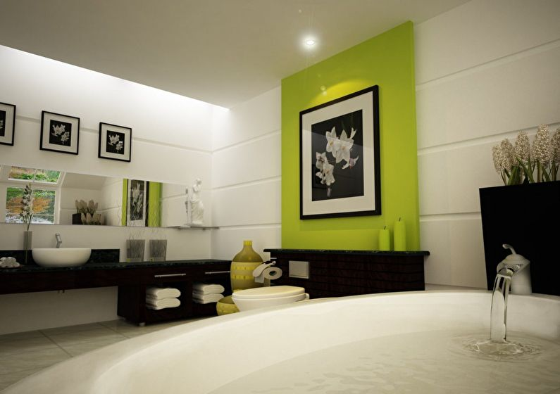 La combinaison de couleurs à l'intérieur de la salle de bain - blanc avec noir et vert