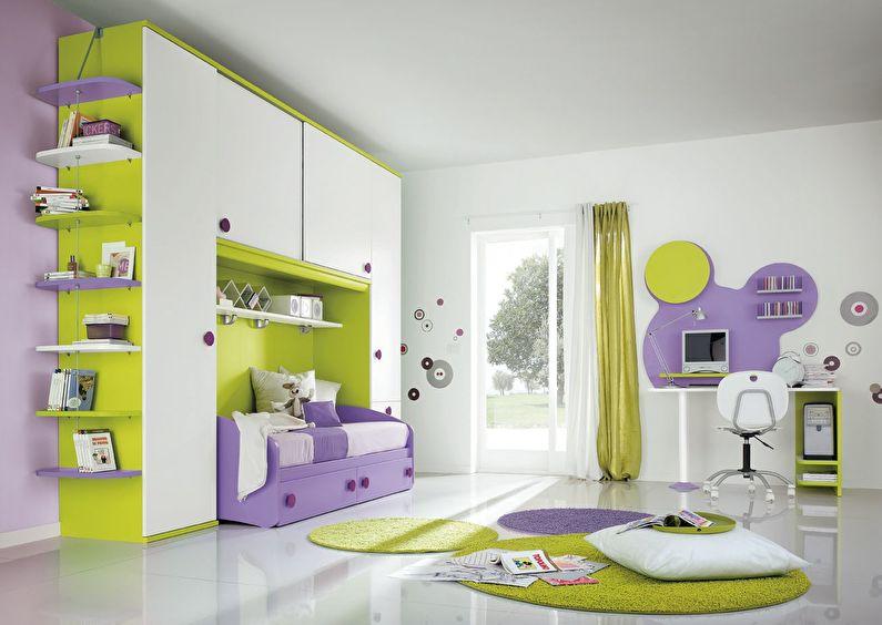 La combinaison de couleurs à l'intérieur de la chambre des enfants - blanc avec vert et violet