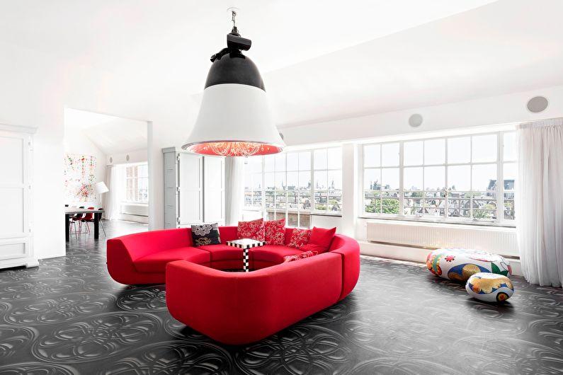 La combinaison de couleurs à l'intérieur du salon - blanc avec noir et rouge