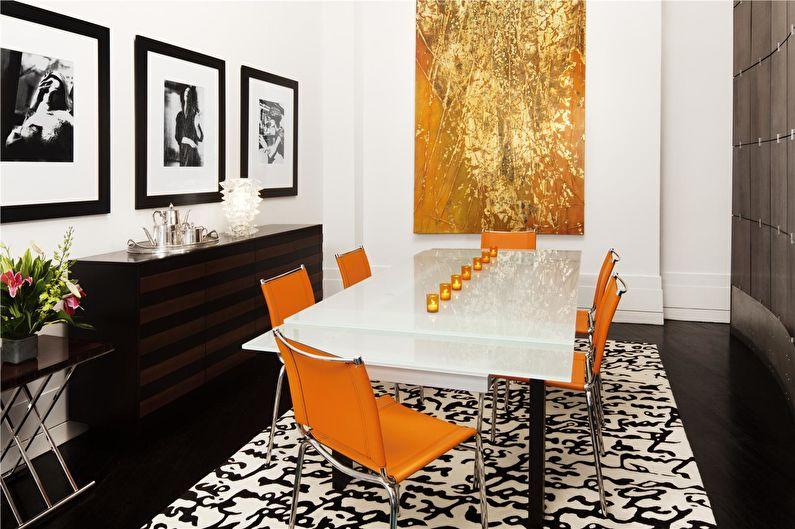 La combinaison de couleurs à l'intérieur - blanc avec orange et marron