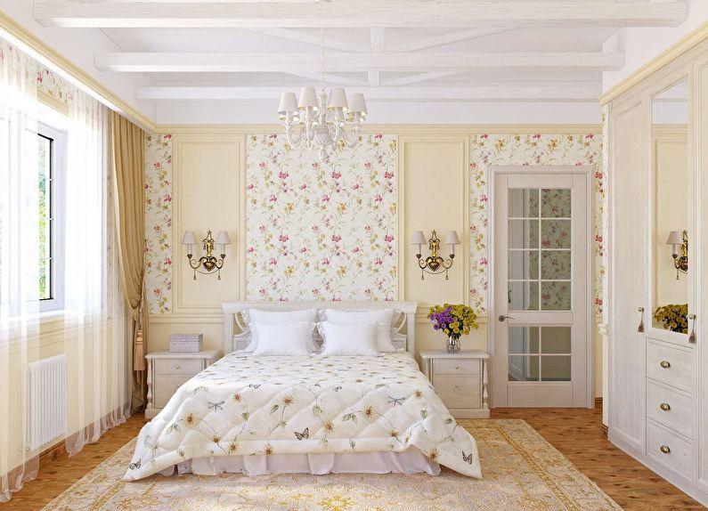 La combinaison de couleurs à l'intérieur de la chambre - blanc avec beige et rose