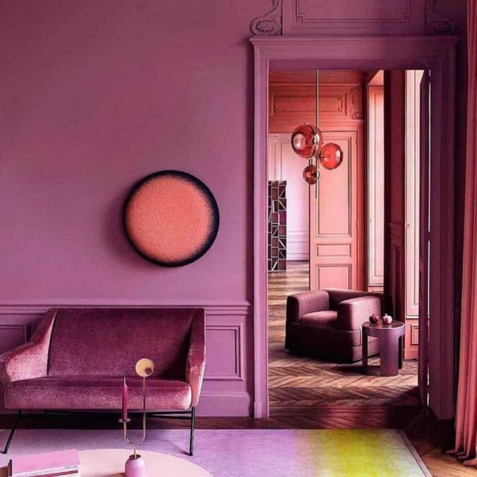 intérieur monochrome rose