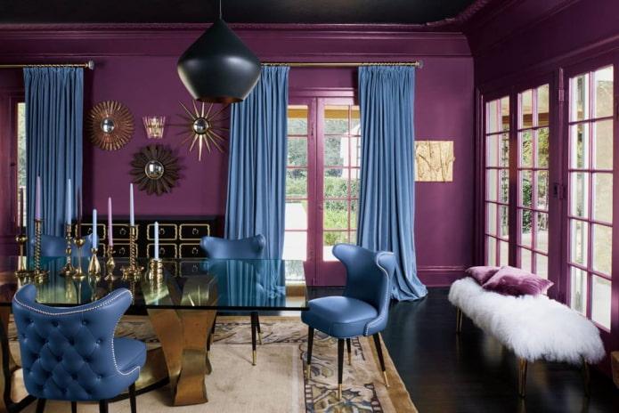 combinaison de bleu et de violet