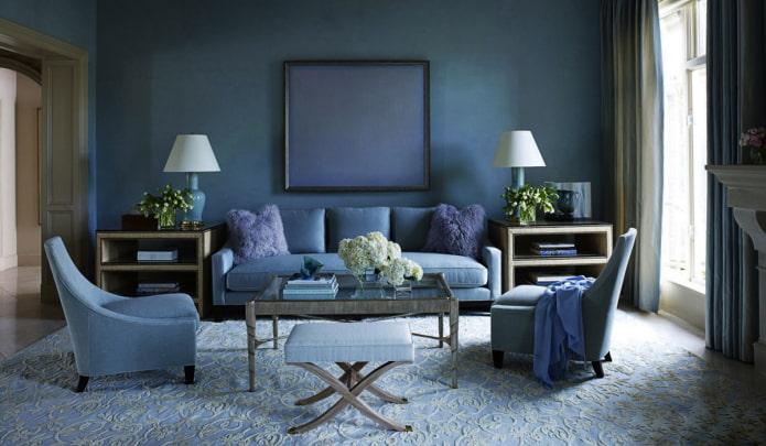 intérieur monochrome bleu