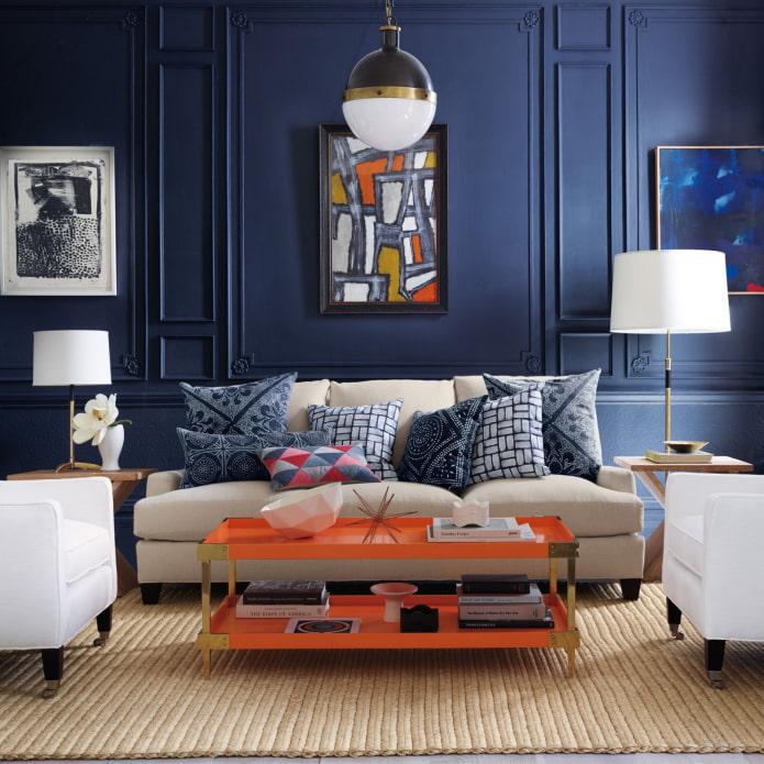 salon orange et bleu