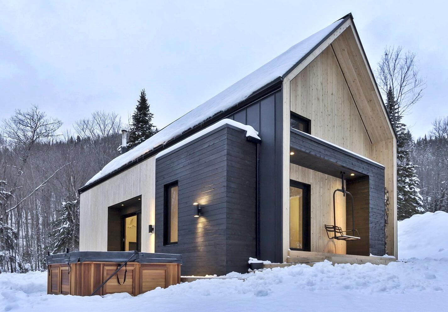 Extérieur d'une maison scandinave moderne