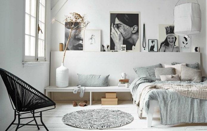 Intérieur de la chambre de style scandinave