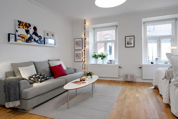intérieur du salon dans un style scandinave