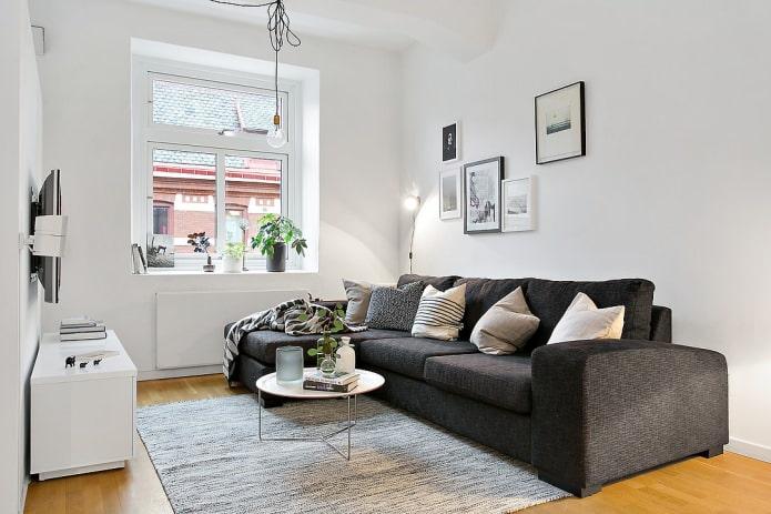 conception de salon dans un style scandinave