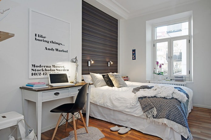 Intérieur de chambre de style scandinave