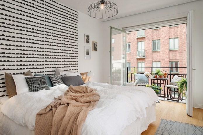 chambre avec balcon de style scandinave