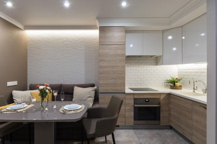 groupe de salle à manger à l'intérieur de la cuisine en forme d'angle