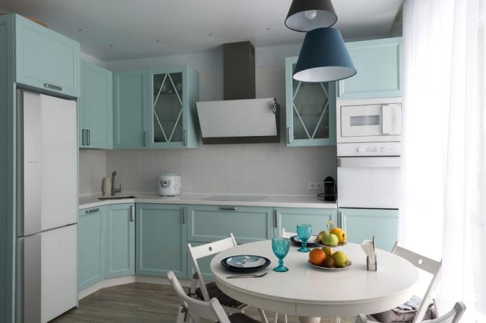 palette de couleurs de la cuisine en forme d'angle