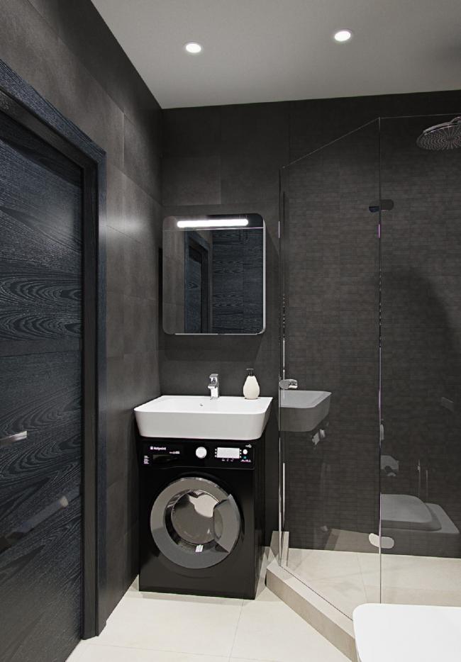 Lavabo blanc contrasté dans une salle de bain miniature