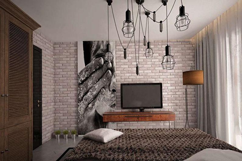 Design d'intérieur de chambre à coucher de style loft - photo