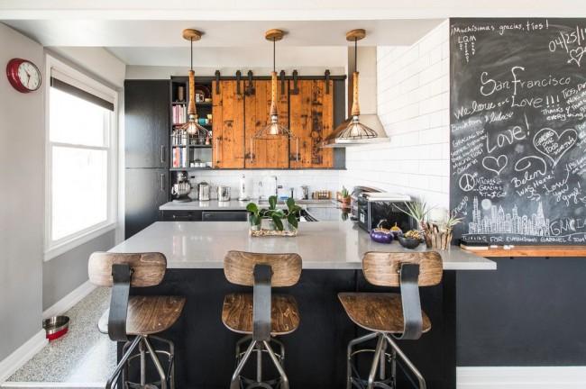 La cuisine de style loft est très élégante