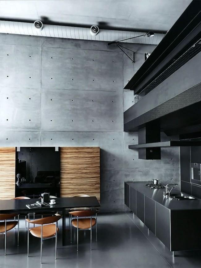 Intérieur de cuisine loft avec éléments high-tech