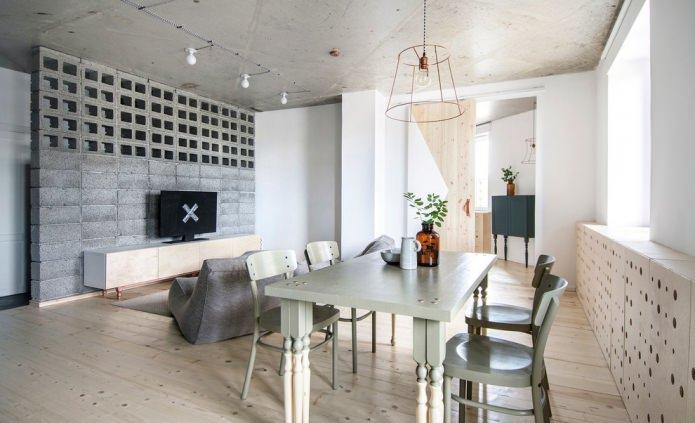 murs blancs dans une chambre de style loft