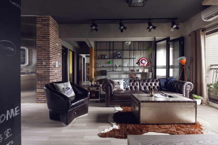 canapé en cuir dans le salon