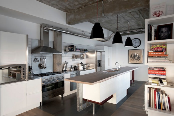 tuyaux et béton à l'intérieur de la cuisine