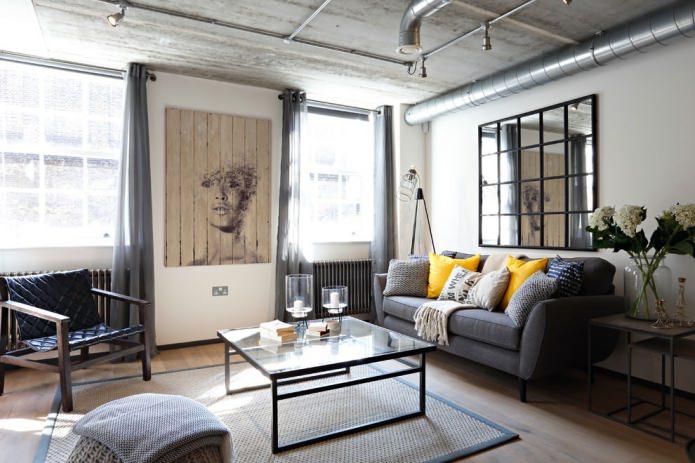 salon de style loft avec décoration murale blanche