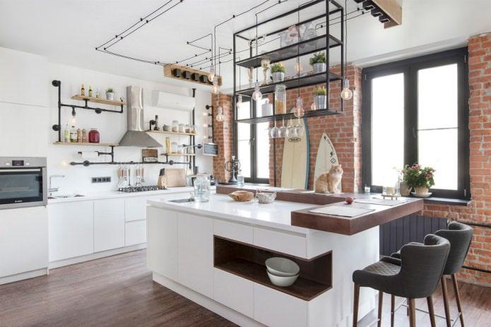 câblage ouvert dans la conception de la cuisine