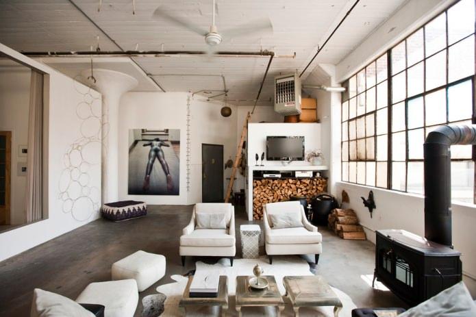 salon de style industriel