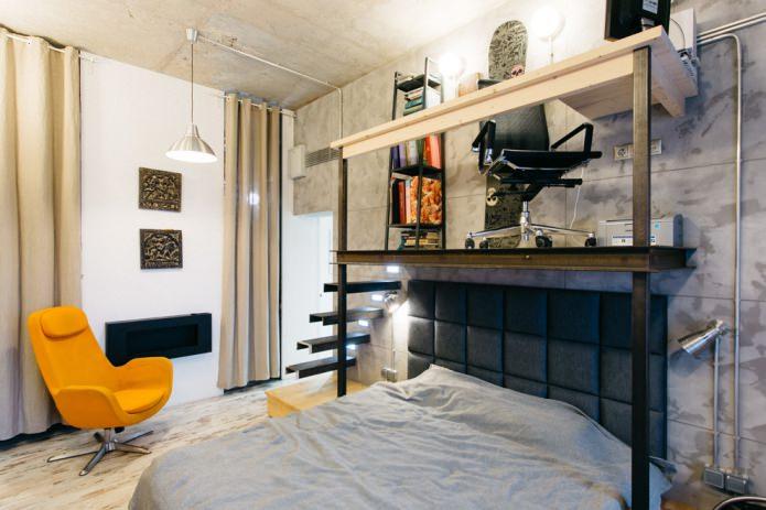 chambre élégante de style loft