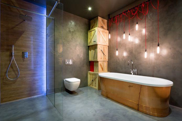 boîtes en bois élégantes, murs en béton et cintres rouges avec ampoules
