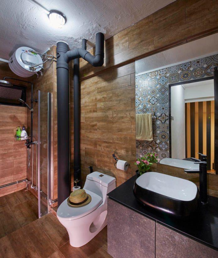 contremarche de plomberie dans le style loft