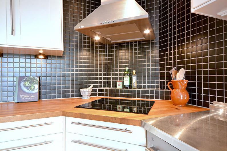 Conception de cuisine d'angle - Cuisine avec cuisinière d'angle