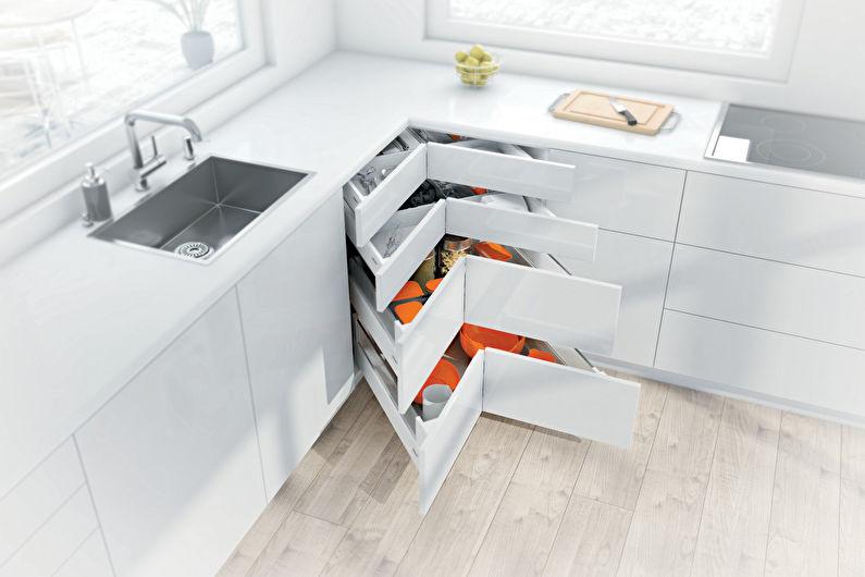 Conception de cuisine d'angle - Rangement d'angle