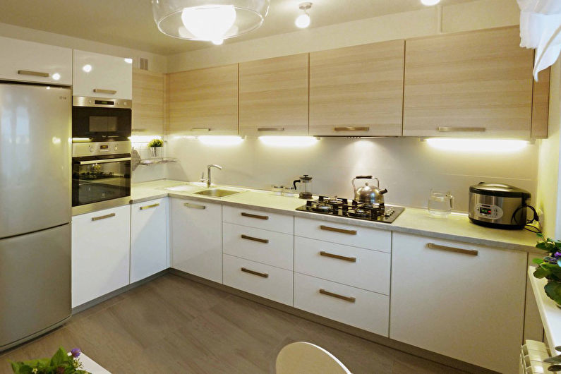 Conception de cuisine d'angle - comptoir