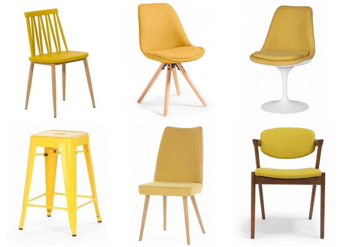 Chaises jaunes pour la cuisine