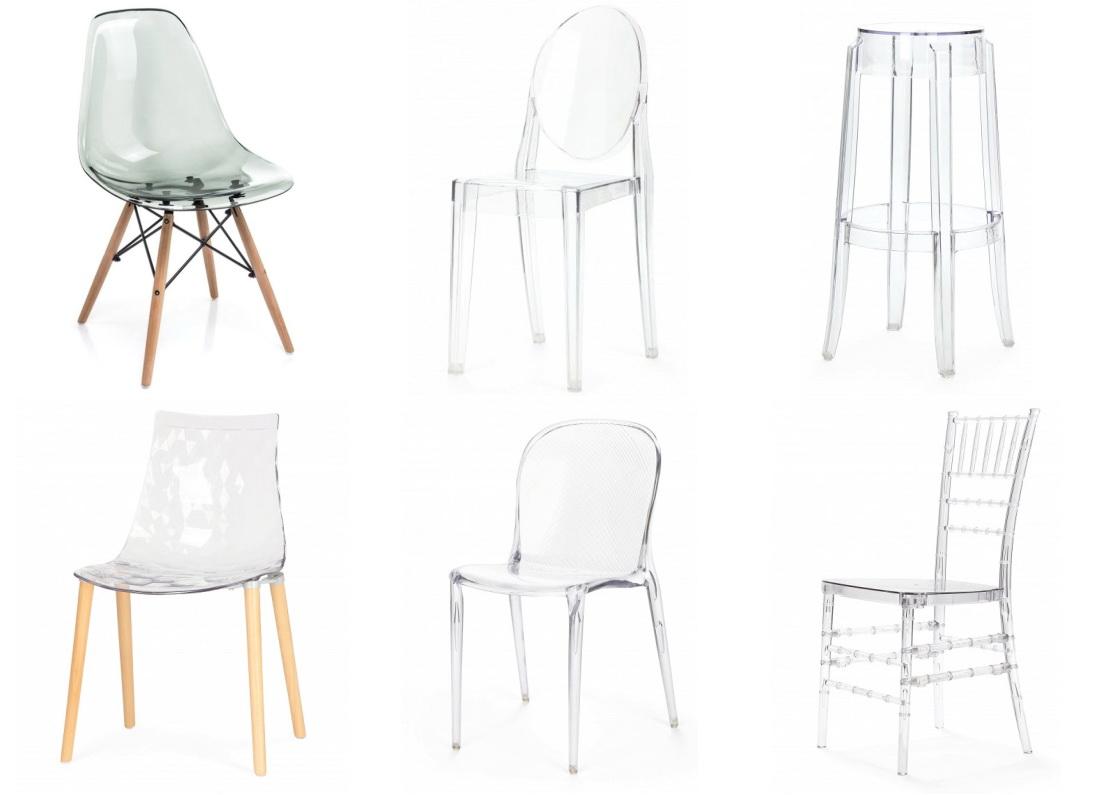Chaises transparentes pour la cuisine